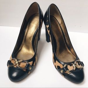 "coach leopard Print 4"" stacked Thick Heel Shoes 9"